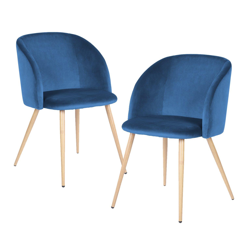 AuBergewohnlich 2er Silky Samt Akzent Sessel Für Kleine Küche Esszimmer Büro Stühle Sessel  Blau