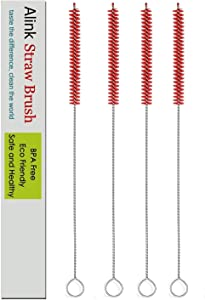 ALINK Extra Long Straw Cleaning Brush, 4-Pack Wide Nylon Pipe Tube Cleaner, 12 inch X 2/5-inch - Red