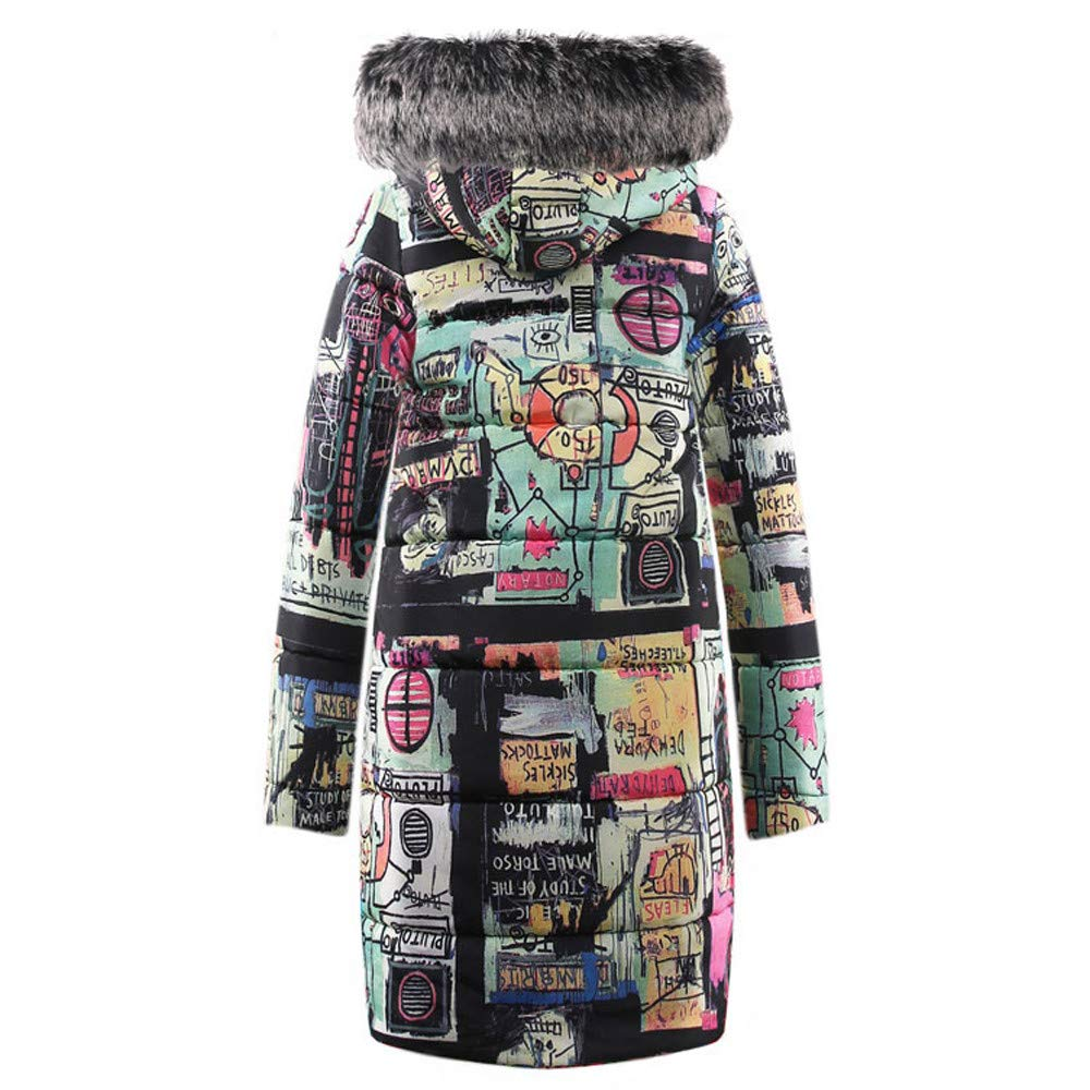 Women Teen Girl's Winter Coat Graffiti Pattern Thick Padded Long Jacket Zipper Parka with Fur Hood by Cuekondy