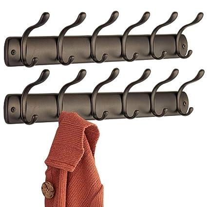 mDesign Perchero para puerta - 6 ganchos – Ideal accesorio para baño o para colgar abrigos y chaquetas – Color: bronce - Paquete de 2
