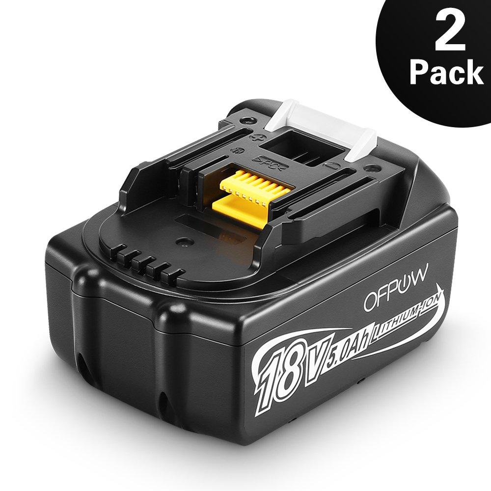 Ofpow 2-pack 18V 5000mAh Li-ion Batterie de Remplacement pour Makita BL1860 BL1850 BL1840 BL1830 BL1815 BL1835 BL1845 LXT400 194205-3 194309-1