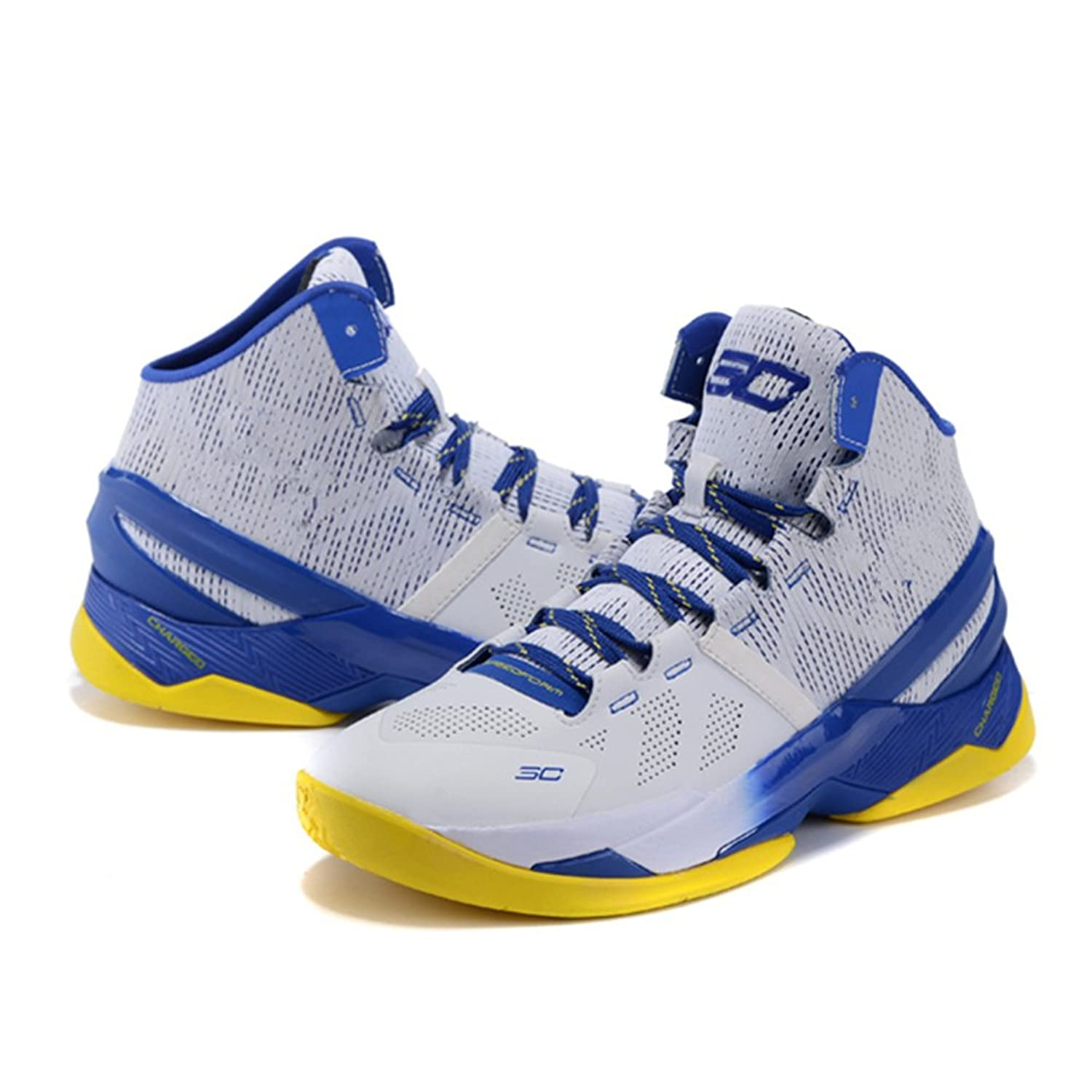 dd26f6a48827 Running Shoes Under Armour Curry 2 Boots White Blue and Yellow (3) Men s UA