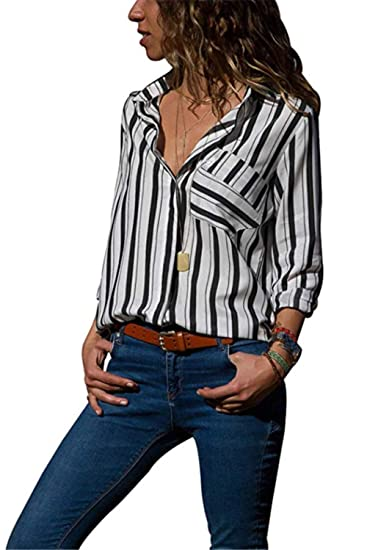 6cce2592303dd9 LSAME Womens Collar Shirt V Neck Long Sleeve Button Down Stripes T Shirts  Casual Tops Blouses with Pocket at Amazon Women s Clothing store