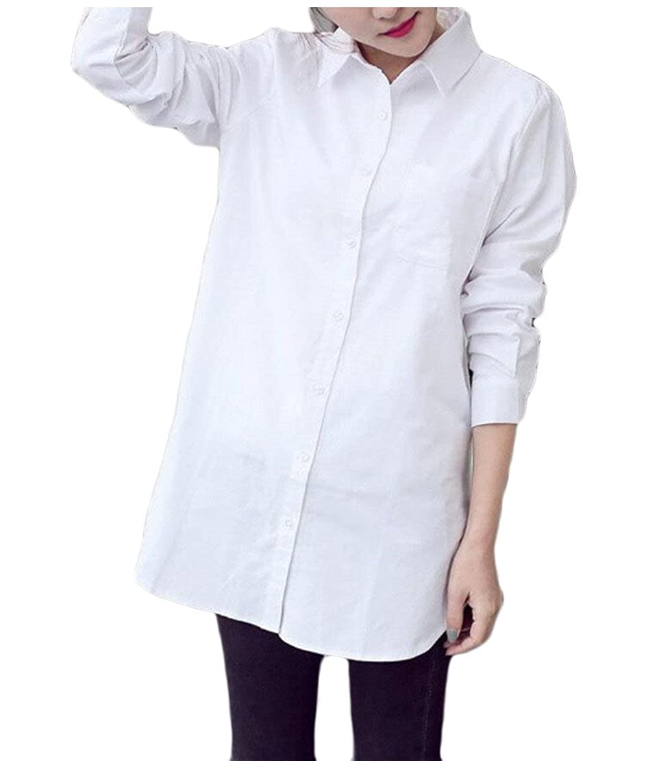 d332bd3b0eeae8 ainr Women's Casual Stylish Long Sleeve Pinstripe Button Up Shirts Button  Down Shirts at Amazon Women's Clothing store: