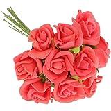 100pz Mini Artificiali Rose Fiori Bouquet Sposa Di Cerimonia Nuziale Decorazione Casa - Multicolore - Vino rosso, 10 centimetri