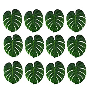 36 Pcs Tropical Artificial Plant Palm Monstera Leaves - Imitation Silk Fabric Decoration Leaf Table Decor Accessories for Jungle Beach Theme Prom and Hawaiian Luau Party Supplies 1
