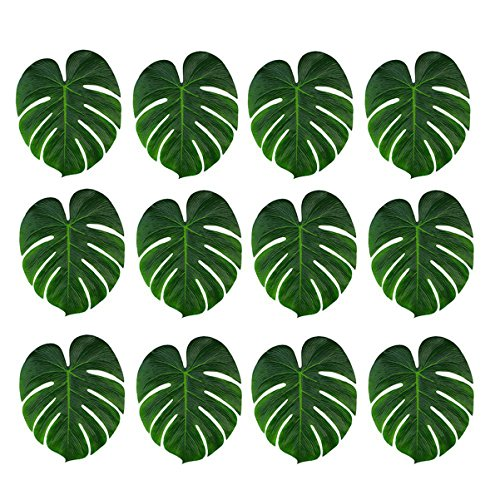 36 Pcs Tropical Artificial Plant Palm Monstera Leaves - Imitation Silk Fabric Decoration Leaf Table Decor Accessories for Jungle Beach Theme Prom and Hawaiian Luau Party Supplies (8