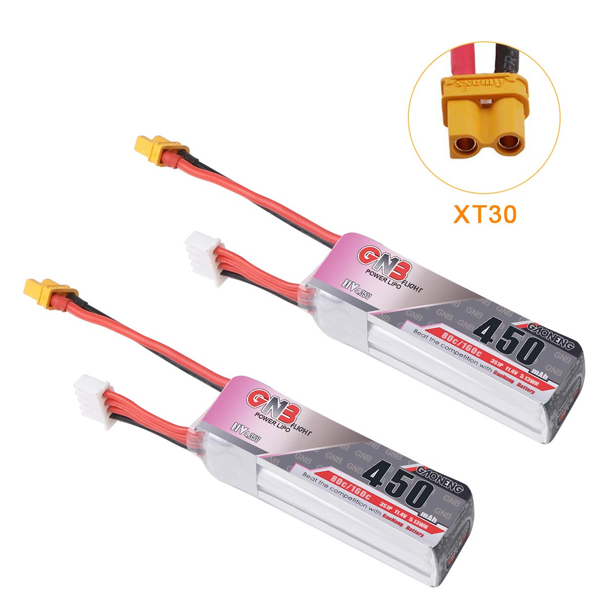 2pcs Gaoneng 450mAh 3S HV 11.4V Lipo Battery 80C XT30 Plug for TurboBee CineBee Whoop Beta85X Micro FPV Racing Drone Quadcopter by Crazepony