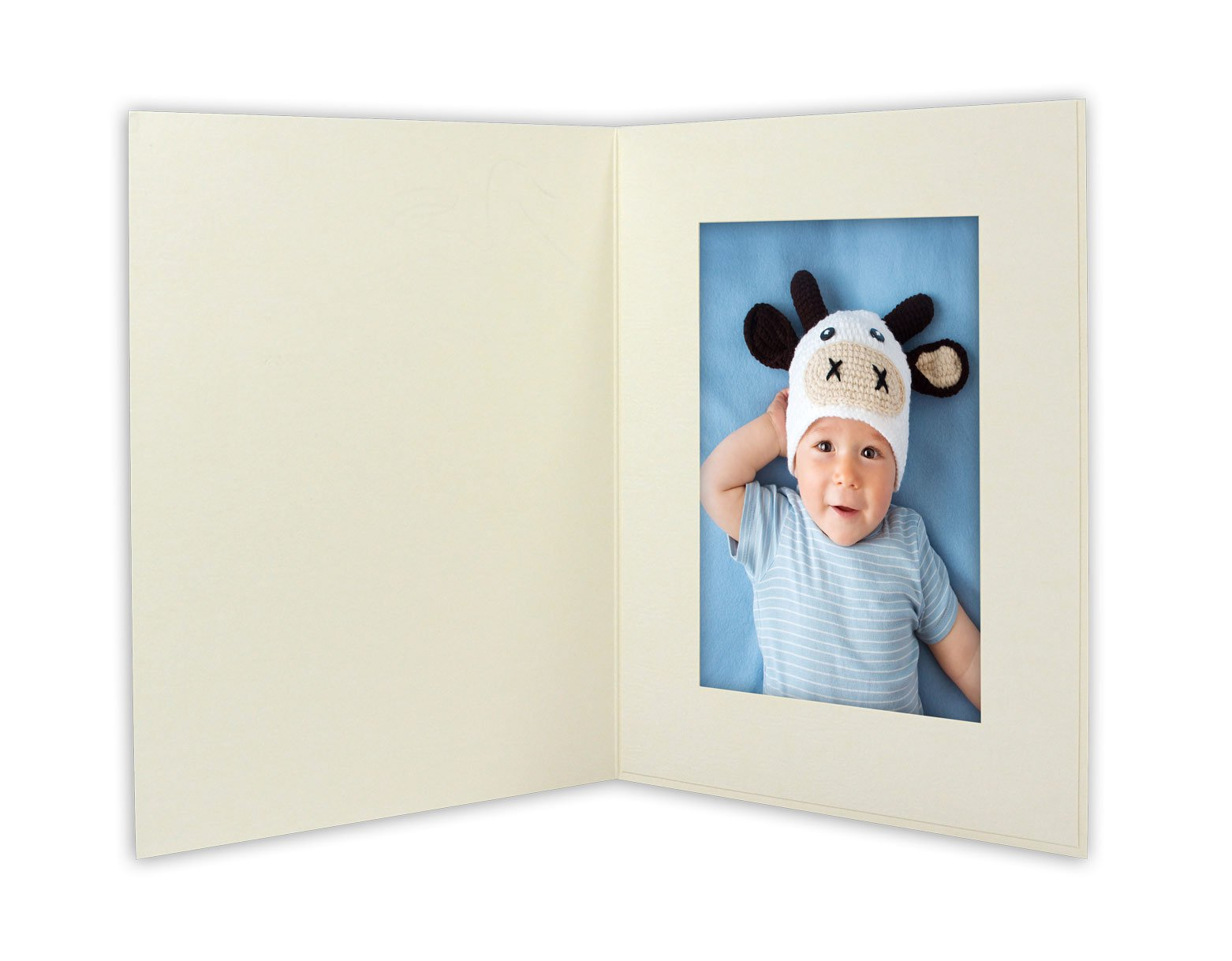 Golden State Art, ANGEL PRINT Cardboard Photo Folder For a 4x6 Photo (Pack of 50) GS007 Ivory Color