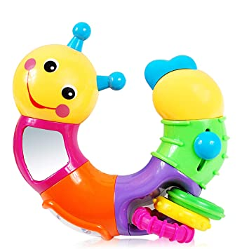 Infant Twist and Play Caterpillar Rattle - Baby Toys 6 to 12 Months with  Rotary Head, Holding Rings,