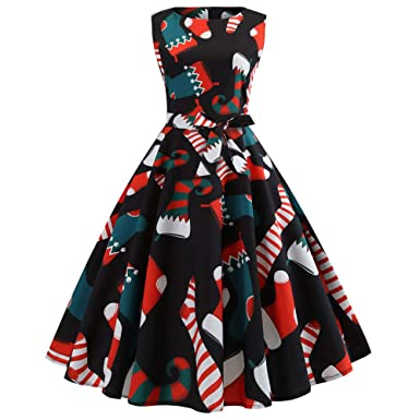 fcee1d1c181 Connia Women s Christmas Sleeveless Swing Dress Winter Hepburn Elegant  Boots Xmas Printed Evening Party Gown (