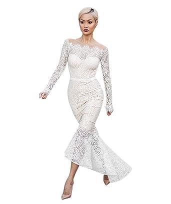 dda15390b8 COCO clothing Midi Vestido Blanco Encaje les Mujer Manga Larga Dress Hombro  Frío Cóctel Lápiz Bodycon