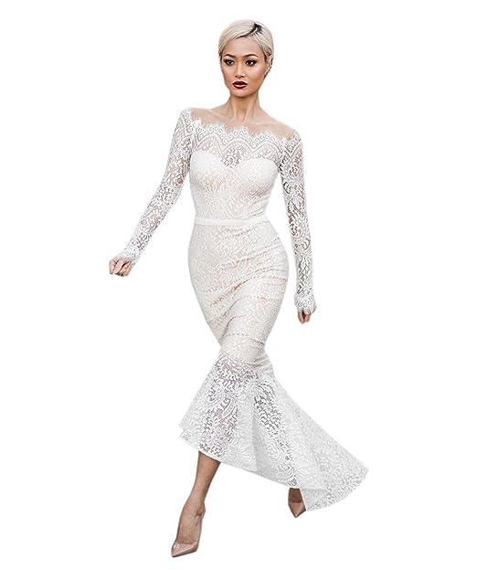 COCO clothing Midi Vestido Blanco Encaje les Mujer Manga Larga Dress Hombro Frío Cóctel Lápiz Bodycon