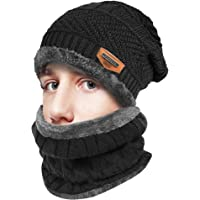 346de708e84 IC ICLOVER 2 Pieces Wool Beanie Scarf Set Knitted Skull Cap Winter  Windproof Thick Casual Hat