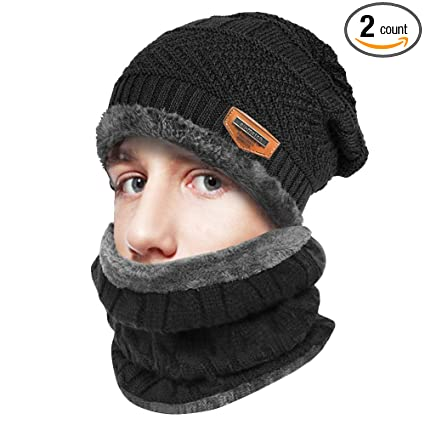 ae474f55 IC ICLOVER 2 Pieces Wool Beanie Scarf Set Knitted Skull Cap Winter  Windproof Thick Casual Hat