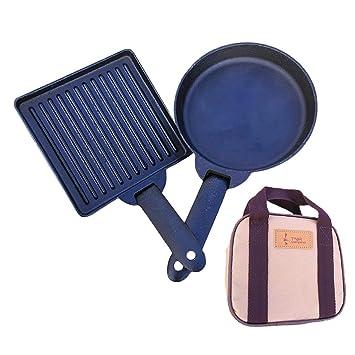 Portátil parrilla Plancha de hierro fundido cacerola, 2 piezas, antiadherente, para creps con