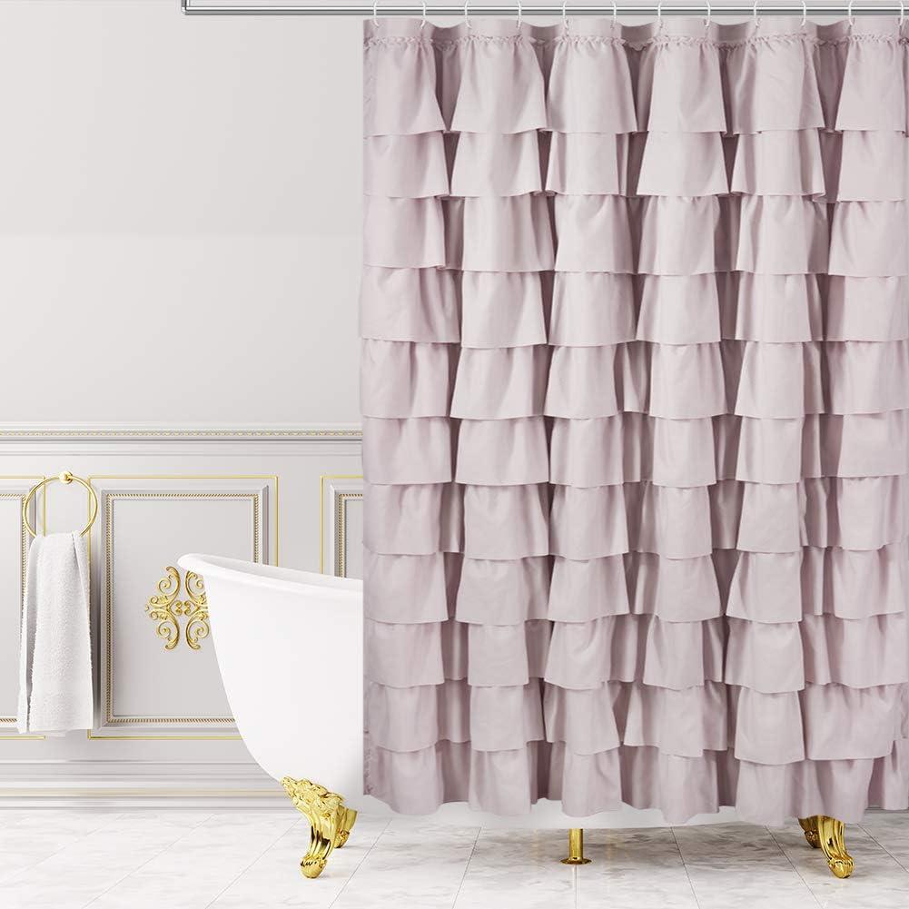 WestWeir Ruffle Shower Curtain,84-inches Extra Long,Blush Pink Ruffled Bath Curtains for Bathroom,Fabric Farmhouse Decor,Soft Touch Decorative Cloth Texture,(72 inch Wide,1 Panel)