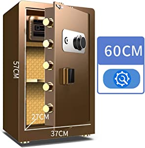 Security Safes 60CM High Safe Key-lock Safe Cabinet Safes, Home Office Password Strongbox Freestanding or Wall Mounted for Money, Jewelry (Color : Coffee)