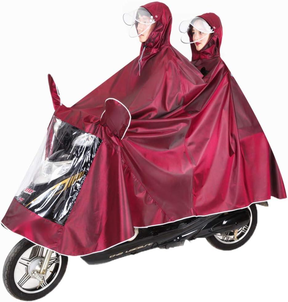 ROSIDA Impermeable Montar a Caballo Adulto Batería Coche Motocicleta Hombres y Mujeres Individual Doble Poncho Aumento Espesar Bicicleta eléctrica,Claret,XXXXXL