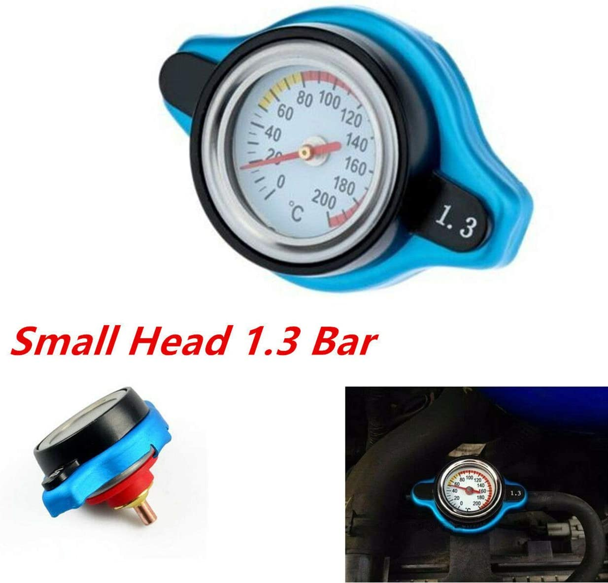 DEDC Small Head Car Temperature Gauge Radiator Cap with Utility Safe 1.3 Bar Thermostatic Radiator Cap 13 PSI Pressure Rating Temperature Gauge