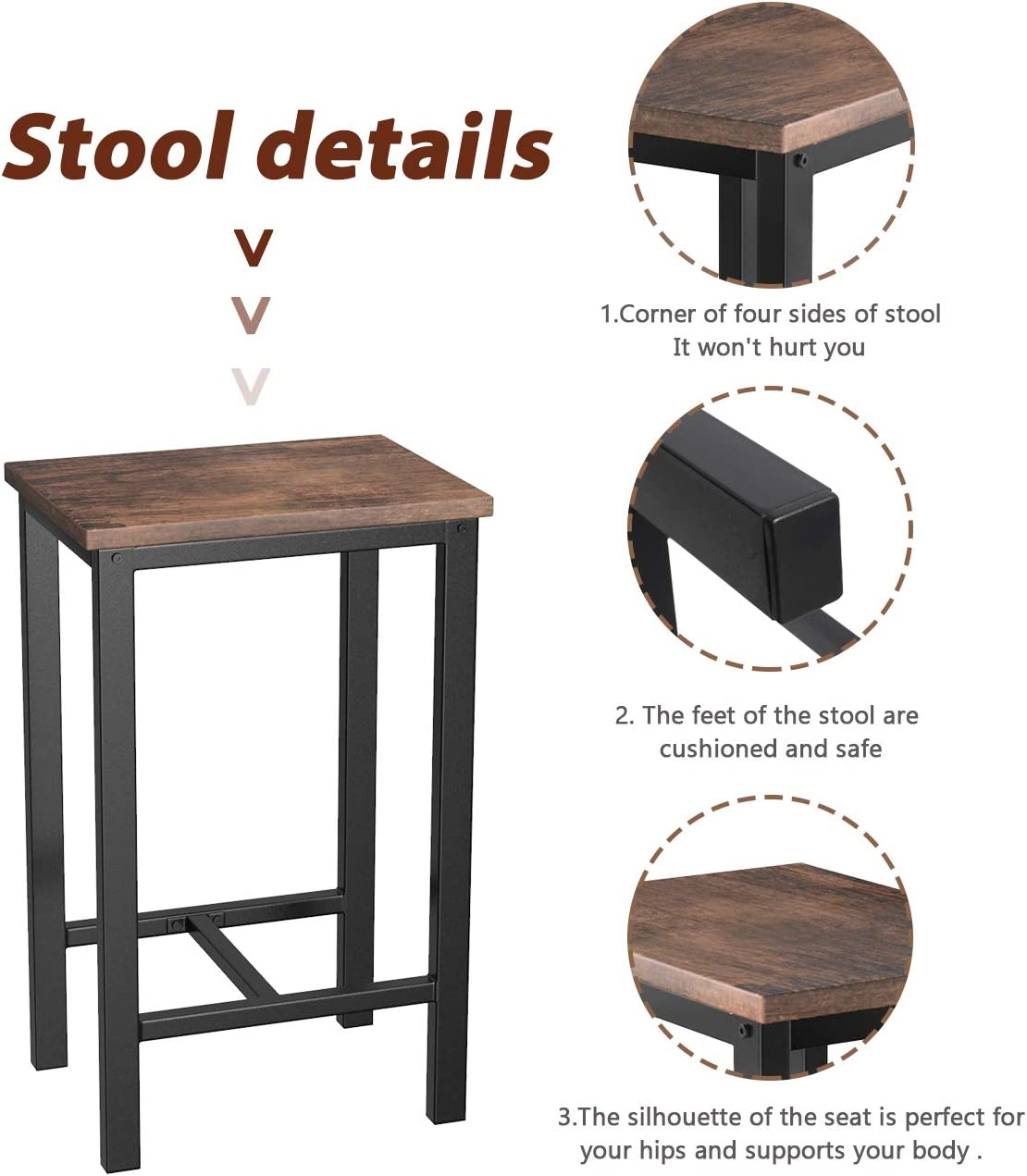 Breakfast Nook Table Set Counter Height Table with Metal Legs Bar Table with 4 Bar Stools Perfect for Kitchen//The Bar//Restaurant Brown Black//Height 34.7 MIERES 5-Piece Dining Table Set