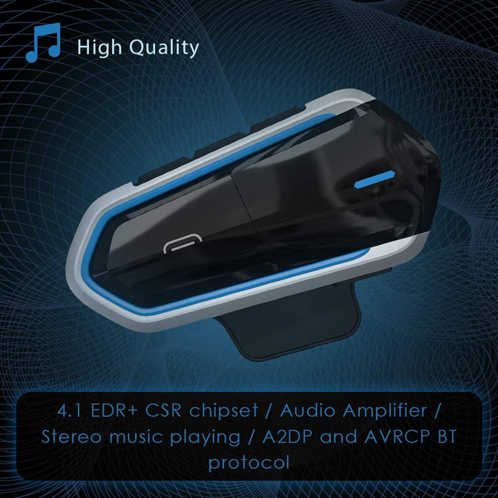 OVE Portable Bluetooth 4.1 Motorcycle Helmet Headset Bluetooth Headset Intercom Motorcycle Helmet interphone Waterproof Wireless Communication System Black Blue