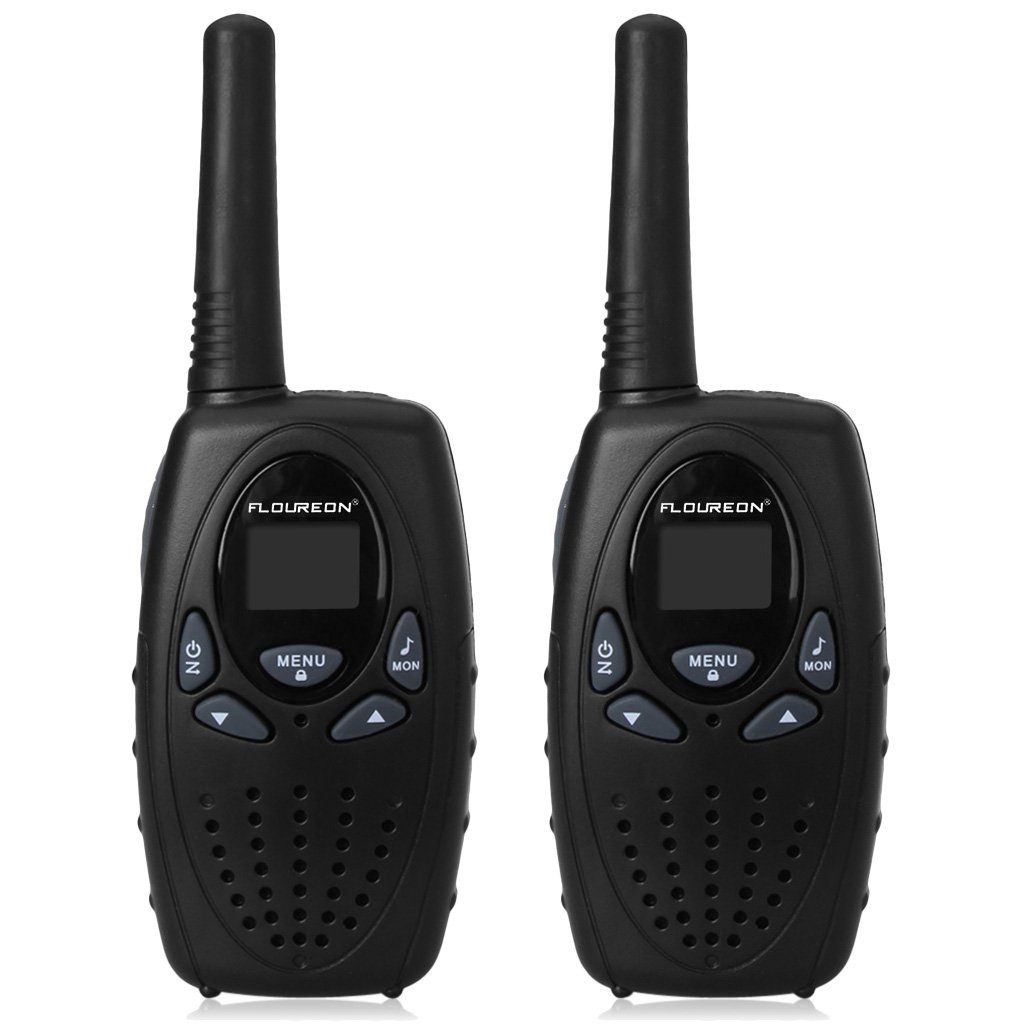 FLOUREON Walkies Talkies Two Way Radios Long Range 1-3 Mile Distance UHF Handheld 2 Set (Black)