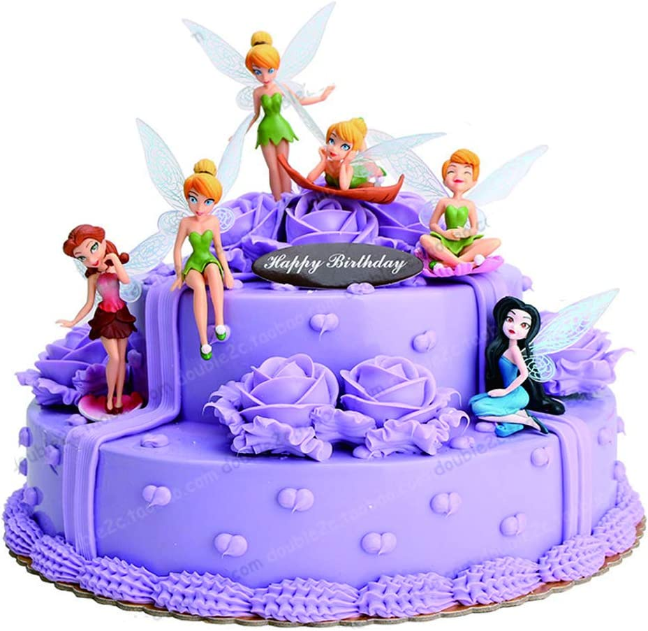 Magnificent Amazon Com Princess Action Figure Tinker Bell Fairies 6Pcs Cake Personalised Birthday Cards Sponlily Jamesorg