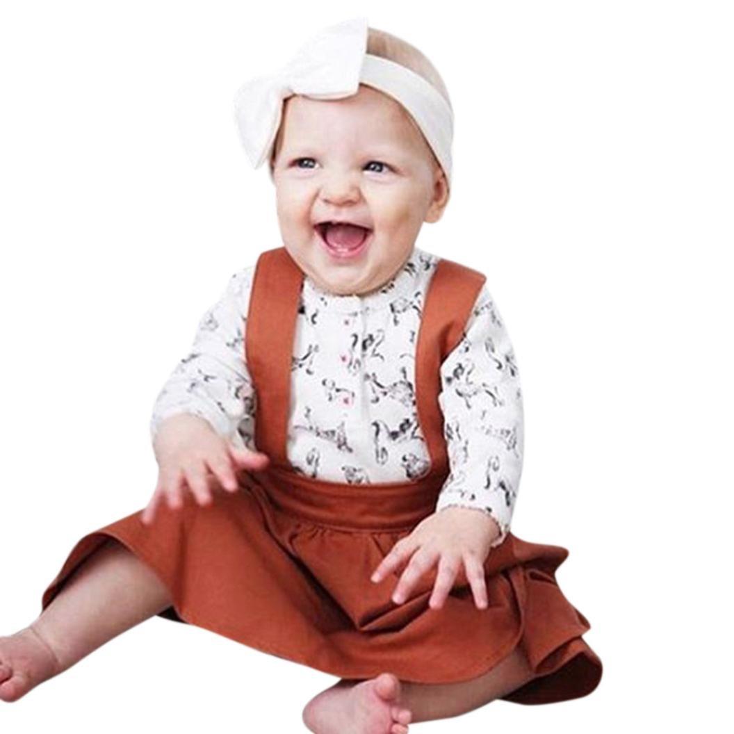 fd990eebb19b Amazon.com  KONFA Toddler Baby Girls Fashion Sleeveless Strap Skirt ...