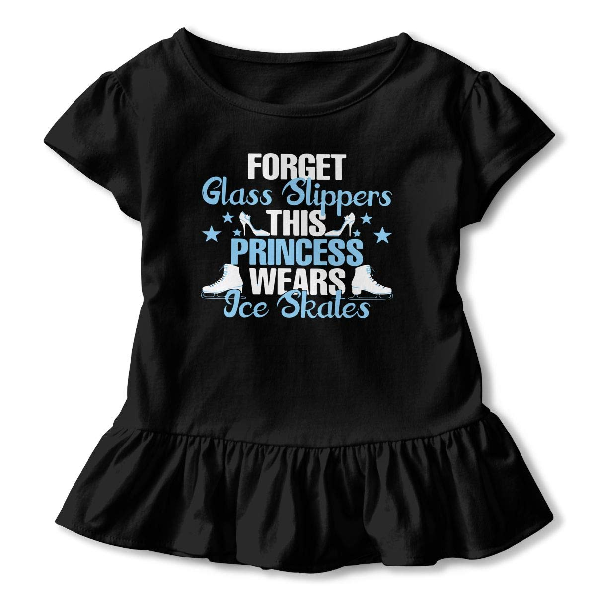 This Princess Wears Ice Skates Toddler Baby Girls Short Sleeve Ruffle T-Shirt