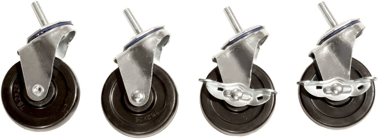 """Seville Classics SHE24004 Steel Wire Shelving System Casters, 3"""" Diameter, Set of 4"""