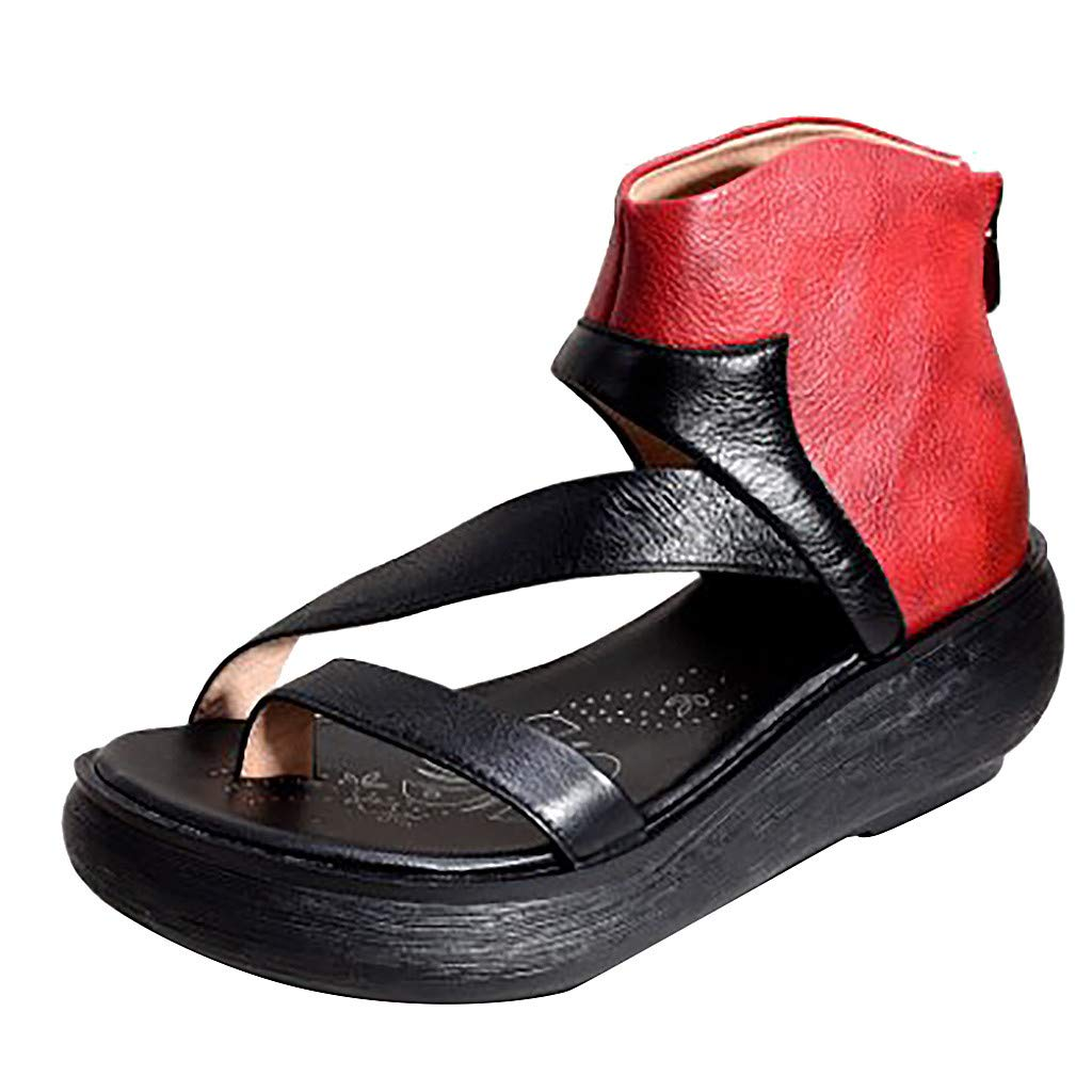 Women's Wedges Sandals Vintage Thick Bottom Crisscross Open Toe Sandal Non-Slip Comfort Shoes for Casual Beach Travel Walking (Red, US:9)