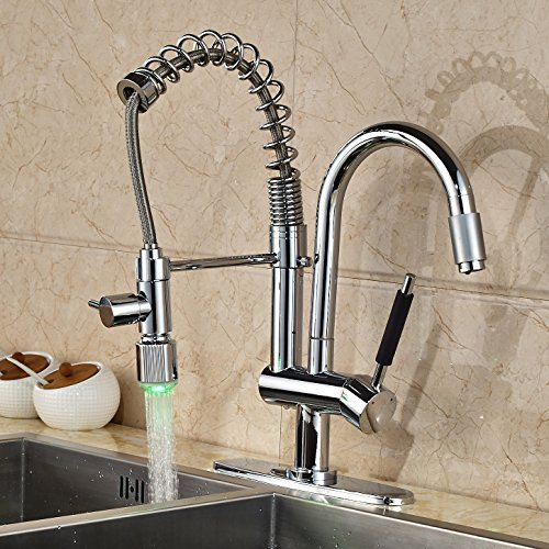 Oulantron LED Changing Color Pull Down Spray Kitchen Faucet Swivel ...