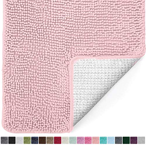 Gorilla Grip Original Luxury Chenille Bathroom Rug Mat (44 x 26), Extra Soft and Absorbent Large Shaggy Rugs, Machine Wash/Dry, Perfect Plush Carpet Mats for Tub, Shower, and Bath Room (Light Pink)