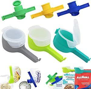 GZCGLN 6 PCS Bag Clips with Spout,Bag Sealing Clips for Food,Seal Pour Food Storage Bag Clips for Kitchen Storage and Organization
