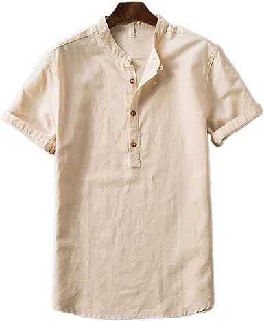 Verano Lino algodón y Lino Camiseta Hombres Hombres Camiseta ...