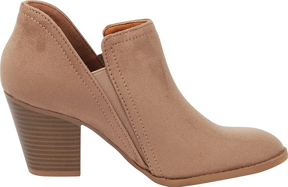 Cambridge Select Womens Closed Round Toe Side V Cutout Stretch Chunky Stacked Heel Shootie Ankle Bootie