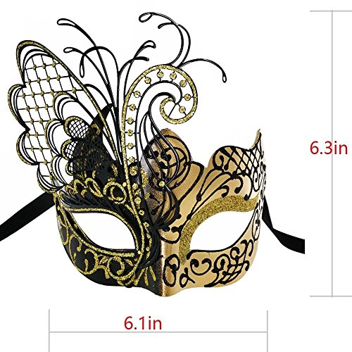 CCUFO [Flying Butterfly] Gold/Black Face with [Sparkling Wing] Laser Cut Metal Venetian Women Mask for Masquerade/Party / Ball Prom/Mardi Gras/Wedding / Wall Decoration by CCUFO (Image #4)