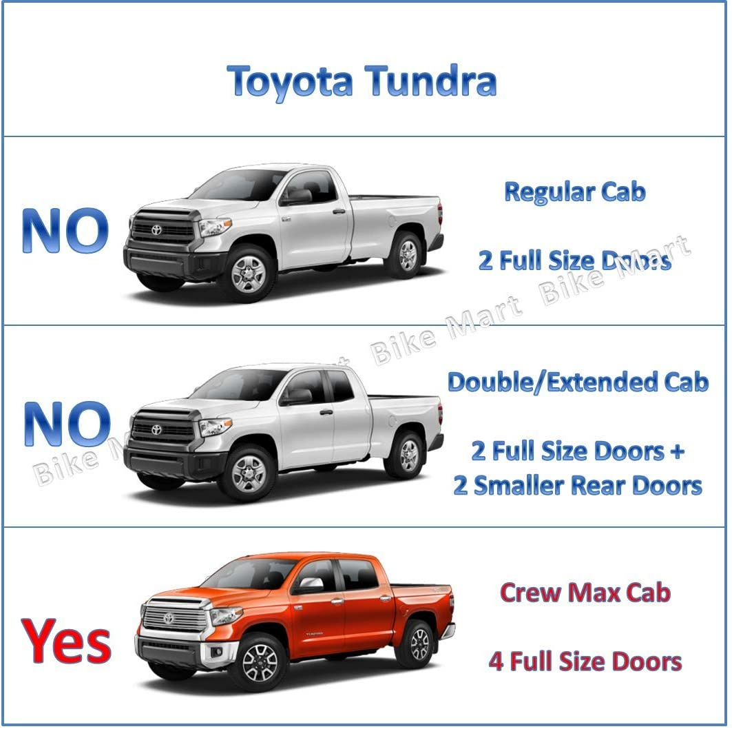 MICROPOWER 3 Side Step Running Boards for 2007-2019 Toyota Tundra CrewMax Cab Pickup Truck Texture Black Nerf Bars Exterior Accessories 2 Pieces