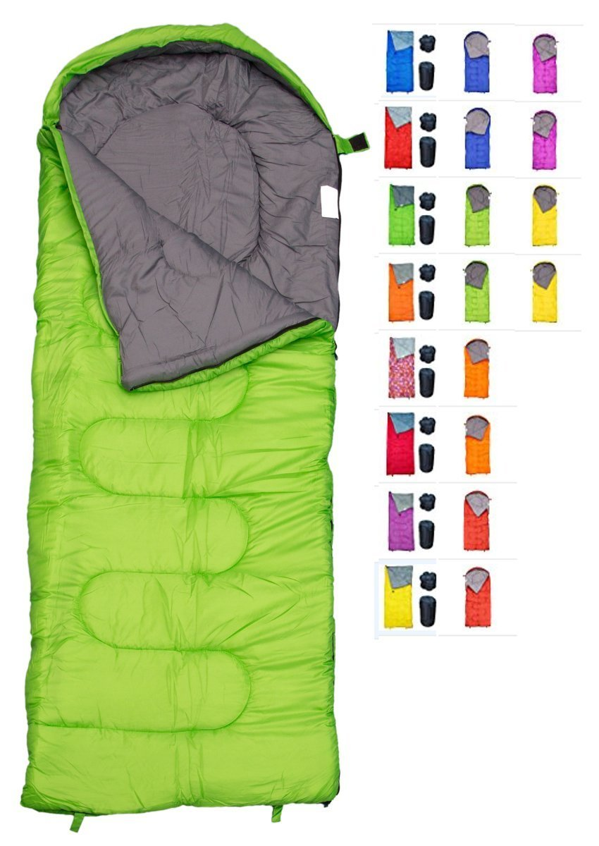 REVALCAMP Sleeping Bag for Cold Weather - 4 Season Envelope Shape Bags by Great for Kids, Teens & Adults. Warm and Lightweight - Perfect for Hiking, Backpacking & Camping (Green - Envelope Left Zip) by REVALCAMP
