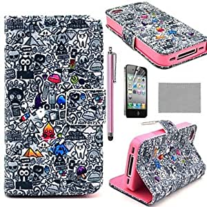 SHOUJIKE Cartoon Graffiti Pattern PU Leather Full Body Case With Film, Stand And Stylus for iPhone 4/4S , Multicolor
