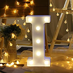LED Marquee Letter Lights Sign 26 Alphabet Light Up Letters Sign for Night Light Wedding Birthday Party Battery Powered Christmas Lamp Home Bar Decoration (I)
