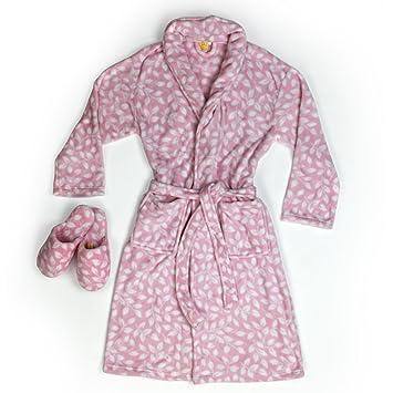 Burrito Blanco Conjunto Bata y Zapatillas de Coralina 001. Bata de Casa Mujer Invierno Polar muy Suave Rosa con Estampado de Hojas Blancas, ...