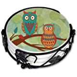 Art Plates brand - Ceramic Drink Coaster Set - Whimsical Owls