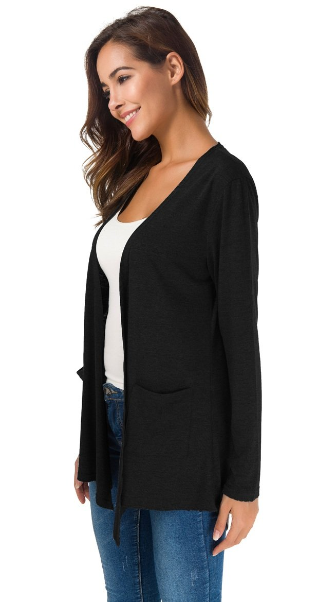 TownCat Women's Loose Casual Long Sleeved Open Front Breathable Cardigans with Pocket (Black, M) by TownCat (Image #4)