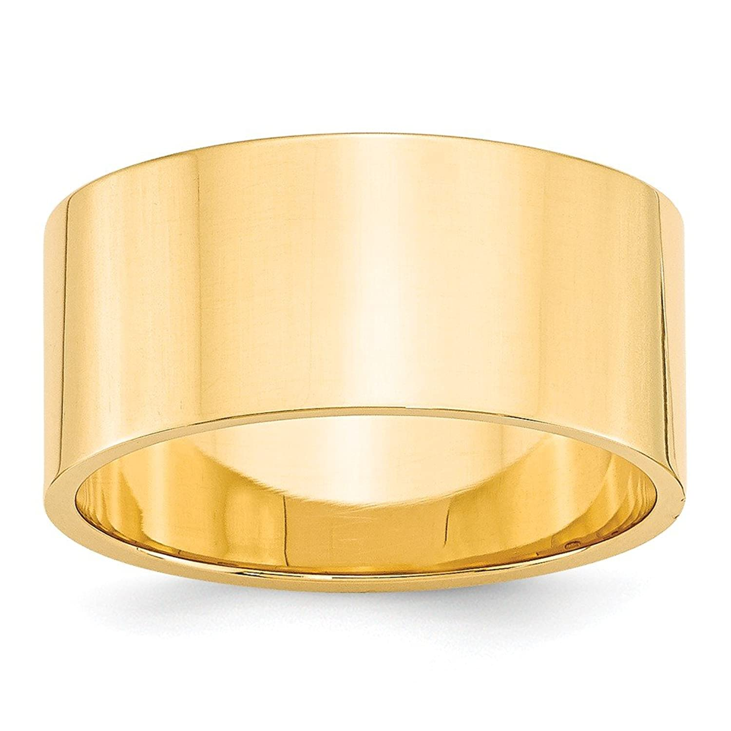 14k Yellow Gold 10mm Ltw Flat Mens Womens Wedding Anniversary Band