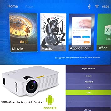 SMEI Portátil Android 6,0 WiFi Led Proyector 3D Smart Home ...
