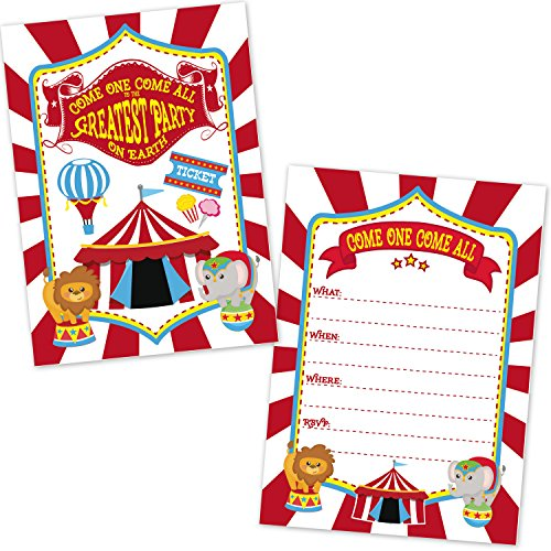 (Carnival Circus Birthday Party Invitations for Kids (20 Count with Envelopes) - Under The Big Top Invites - Carnival Circus Party)