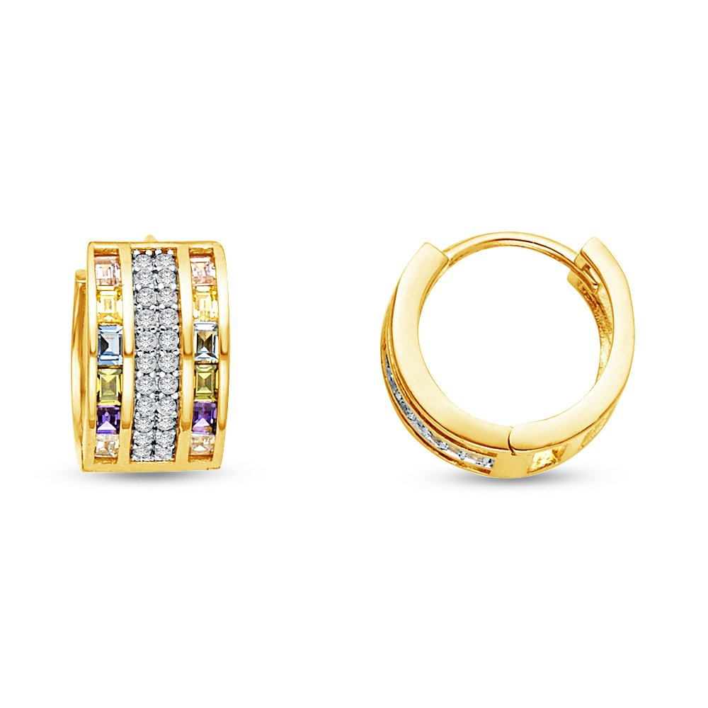 14k Yellow Gold 7mm & Baguette CZ Cubic Zirconia Hoop Huggies Earrings (13 x 13 mm)