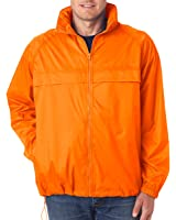 UltraClub mens Full-Zip Hooded Pack-Away Jacket(8929)